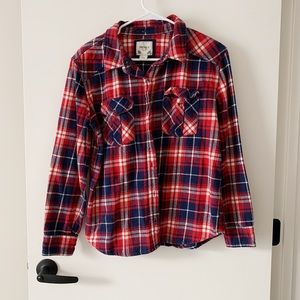 Forever 21 Red Blue Flannel Button Down Fall
